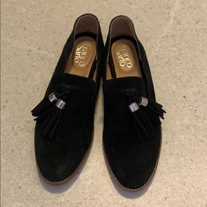 Black Suede Franco Sarto Flats with Tassels 6.5